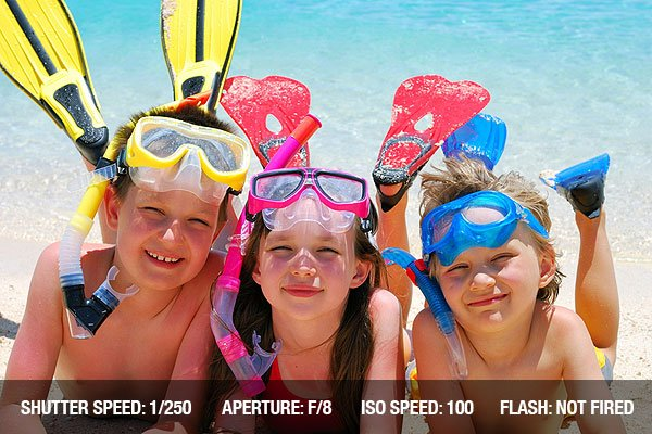 Beach Photography - Three smiling children posing on a beach wearing snorkeling equipment