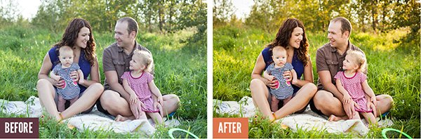 Family portraot retouching in Lightroom