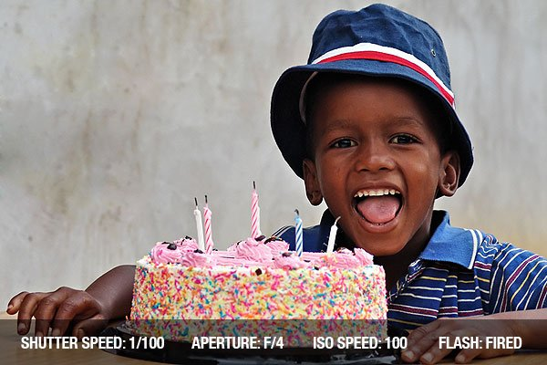 Photograph of a child with the birthday cake