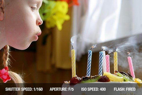 Birthday girl blowing birthday candles