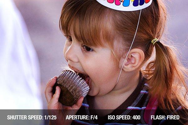 Birthday Girl eating a cupcake