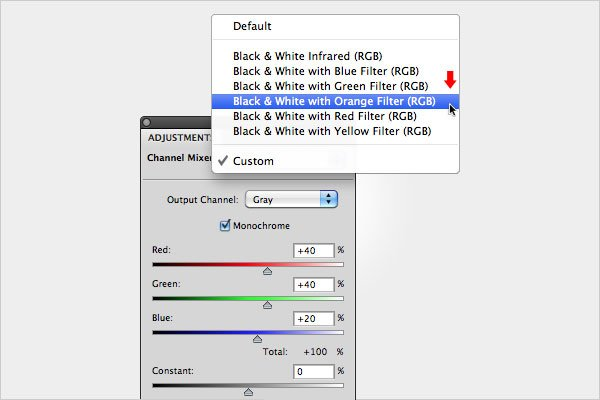 Black and White Conversion Using the Channel Mixer - Step 4