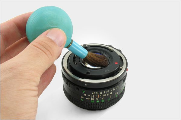 Camera Lens Cleaning with Soft Brush