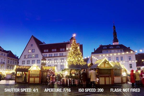 Annual christmas market in Tallinn Hall Square, in Estonia