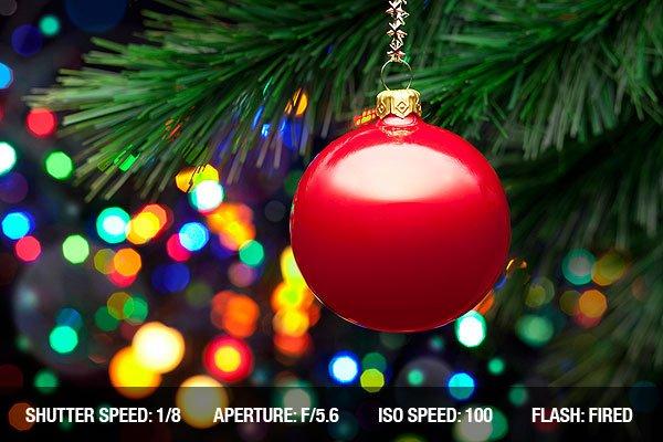 Christmas Tree Lights And Ornament Photograph