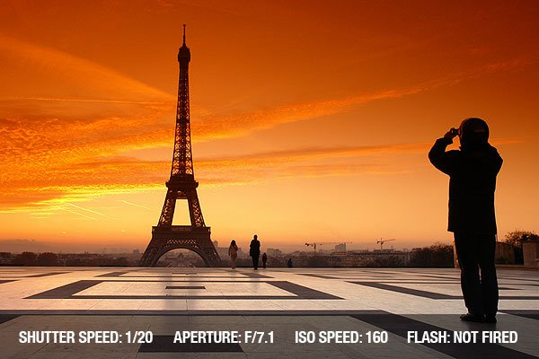 Composition tips-Sunset at eiffel tower and photographer