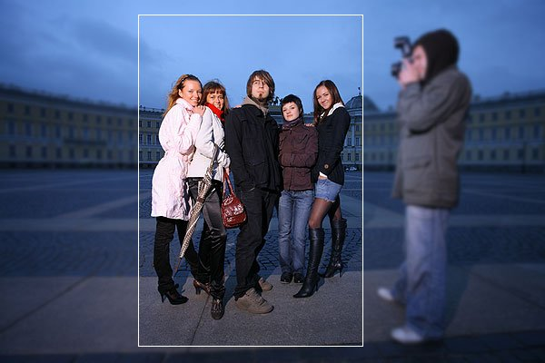 Composition tips-Group of five trendy young people standing in a city square