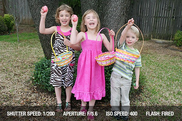 Easter Group Photograph of three little kids