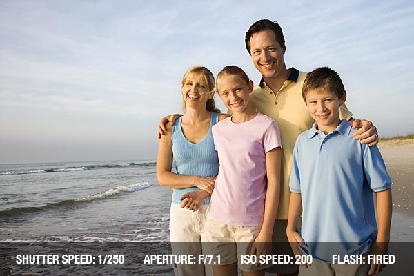 Portrait of Caucasian family of four posing on beach looking at viewer smiling