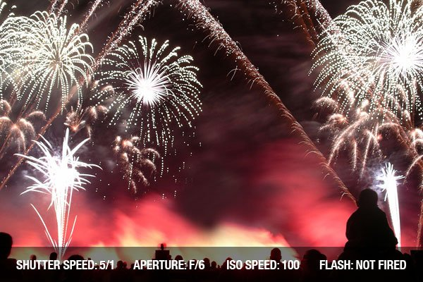 Photographing Fireworks - Fireworks in a fireworks contest with a silhouetted crowd