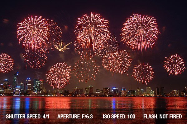 Photographing Fireworks - Fireworks over city with reflection in river
