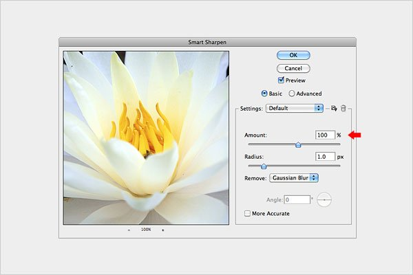 Image Sharpening using the Smart Sharpen technique