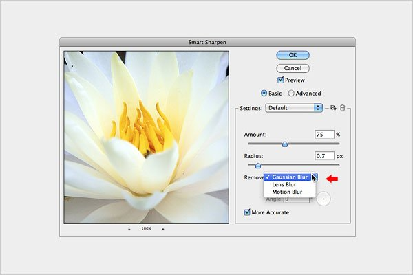 Sharpening an Image with the Smart Sharpen Filter