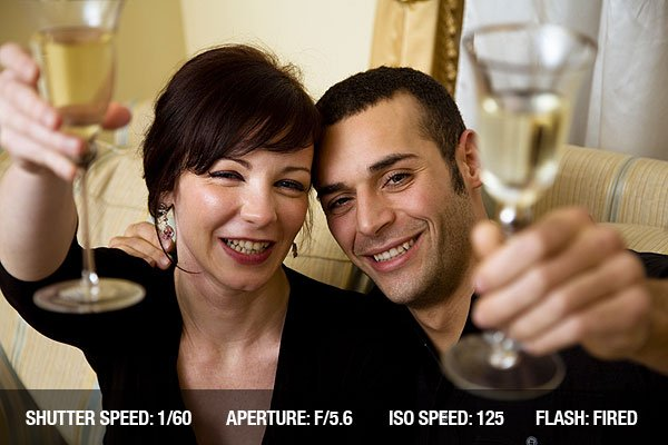 Young couple celebrating new years eve and having fun