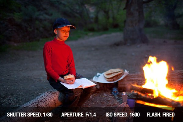Outdoor Photograph of a Boy in red and night camp