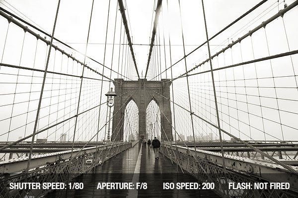 Architectural Photography - Brooklyn Bridge in black and white