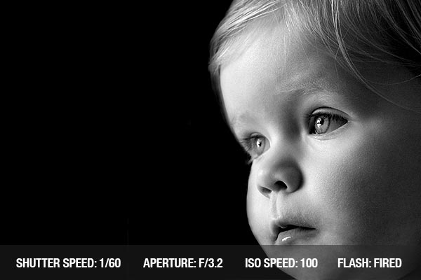 Black and white photography of a baby boy