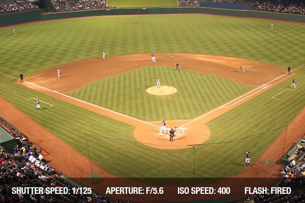 A baseball field is lit up at night with the crowd watching the game