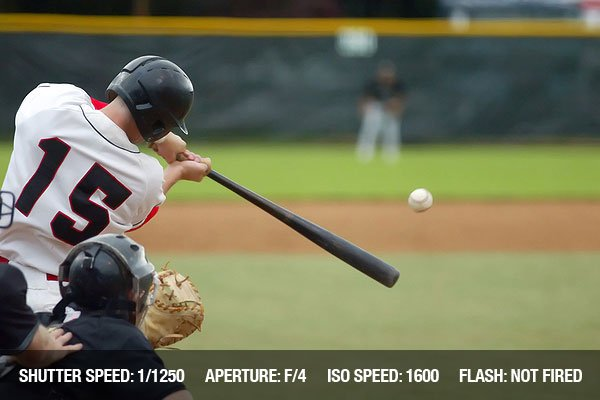 Baseball player number 15 connecting with baseball, bat extended, ball in front