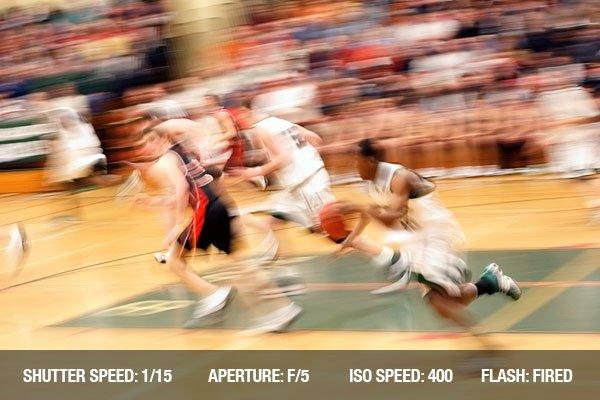 Basketball game motion blur