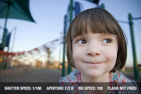Photographing a smiling child