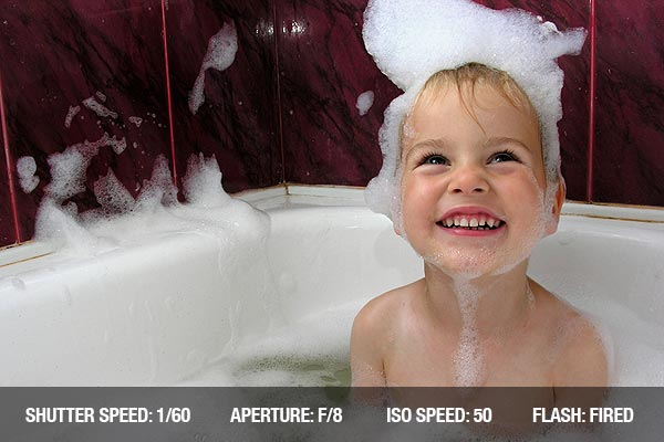 Kid in bath with spume on head