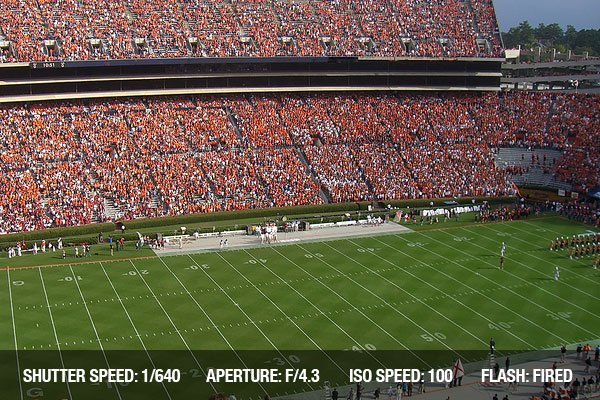 A packed stadium for a college football game