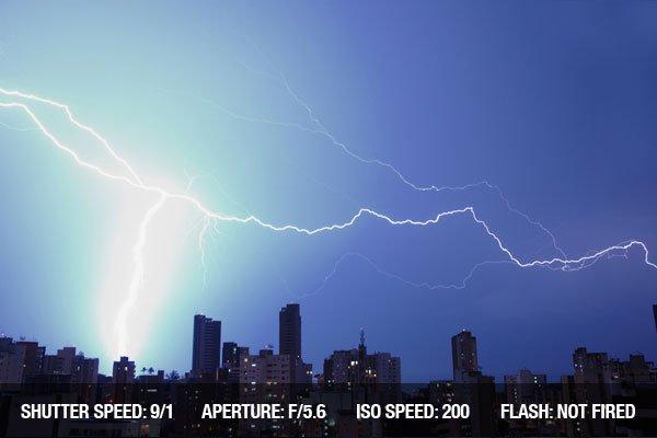 Lightning over City