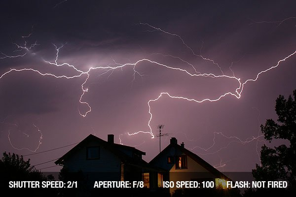 Lightning photography in the night