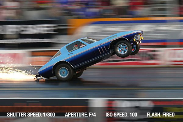 Blue car showing off - in motion