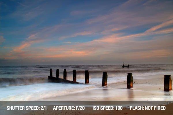 Waves breaking on Southwold beach in Suffolk, UK