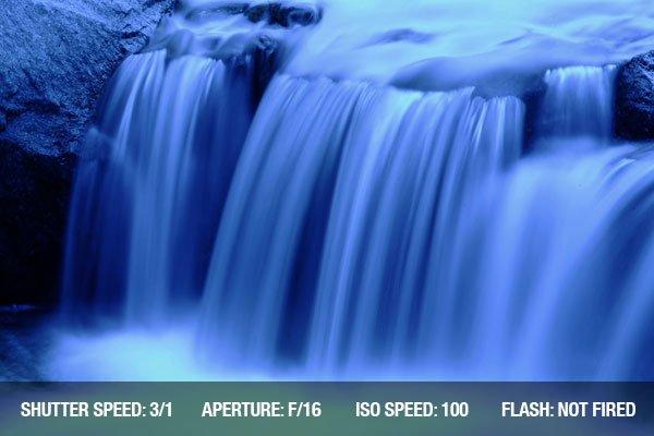 Blue waterfalls on a small lake