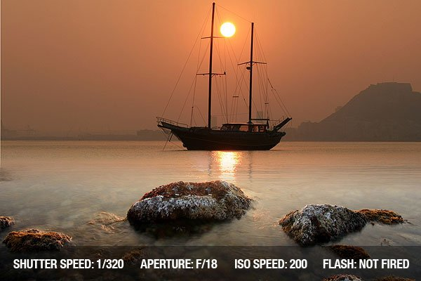 Photograph of a sailing boat anchored in Alicante Beach