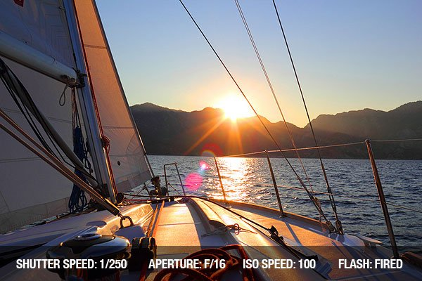 Sunset view from a sailing yacht