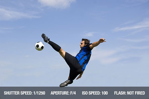 Soccer player against blue sky making volley