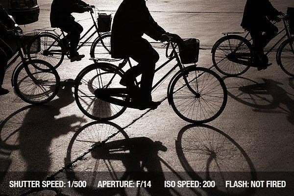 Biking on a street in bejing china