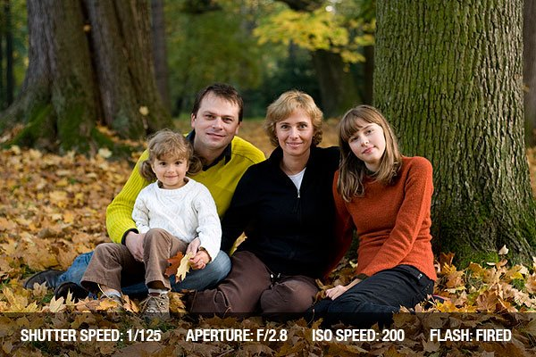 Happy family in autumn park on Thanksgiving Day