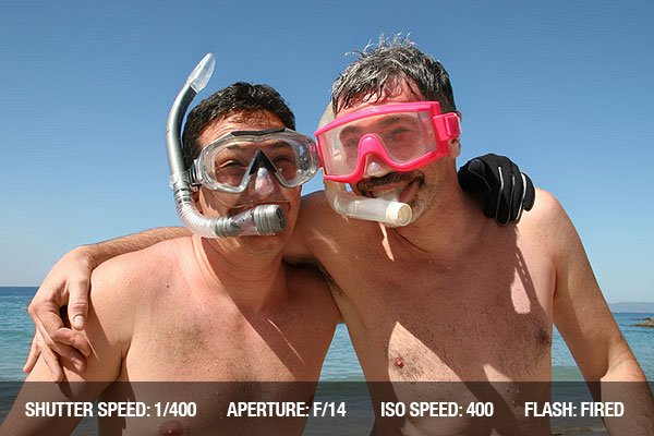 Travel Photography Tip 5 - Two men are about to go snorkeling in the ocean