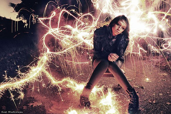 Sparkler firework light painting long exposure photography