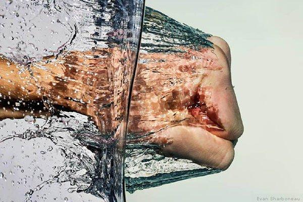 High speed water splash photography