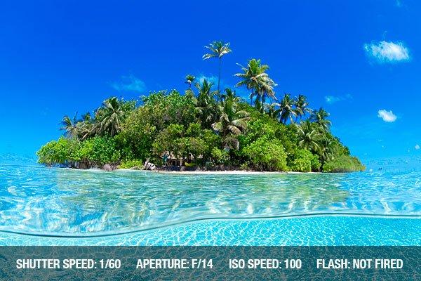 Underwater Photography - Split underwater shot of tropical island