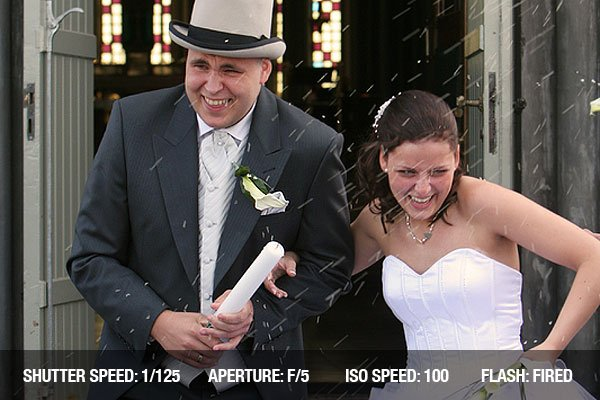 Wedding Picture of a Bride and groom walking out the churchdoor